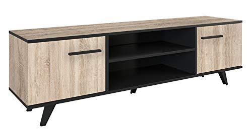 Miroytengo Mesa TV televisión Way Color Roble Cepillado y Negro con Puertas y Compartimento 151x46