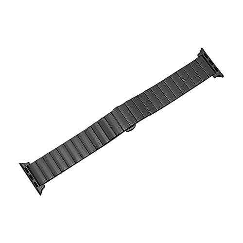 YMYGCC Correa Reloj Banda de Reloj de Correa de Acero Inoxidable 44mm 40 mm 42mm / 38mm Pulsera de Metal 711 (Band Color : Black, Band Width : 38mm or 40mm)