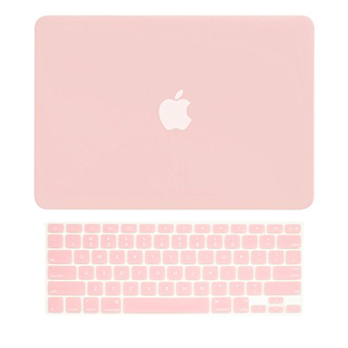 TOP CASE - 2 in 1 Signature Bundle Rubberized Hard Case and Keyboard Cover ONLY Compatible MacBook Air 13' A1369 & A1466 (Older Version, Release 2010-2017) - Rose Quartz