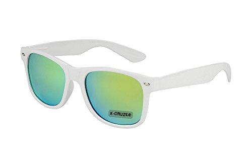 X-CRUZE® 8-060 X20 Nerd Sonnenbrille Style Stil Retro Vintage Retro Unisex Herren Damen Männer Frauen Brille Nerdbrille - weiß und grün-gelb verspiegelt