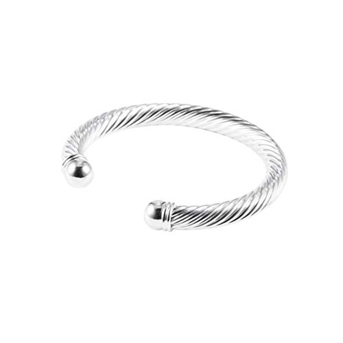 B030 Fashionable Men Cool Silver Plated Twisted Round Cuff Bangle Bracelet Hand Jewelry Wedding Party Casual Jewelry(Silver)