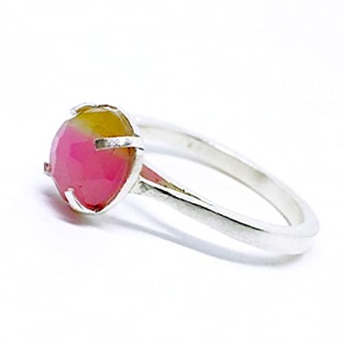 Precioso anillo con preciosa Turmalina Bicolor en talla rosa de diámetro de 7 mm. Anillo realizado totalmente a mano en Plata de ley. Anillo con preciosa Turmalina bicolor.