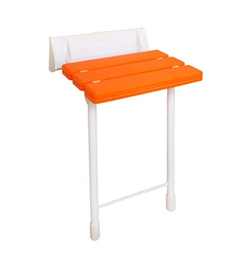 CAIS Shower Stool Foldable Wall Bath Stool Aluminum Alloy Wall-Mounted Shower Seat Stool Change Shoes Stool Adjustable Height Security Bath Chair for Elderly Bathroom Stool - Orange - Load-Bear