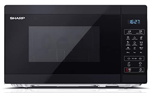 SHARP YC-MG02EB Mikrowelle mit Grillfunktion/Auftauprogramm/ 800 Watt/20 Liter/ 11 Leistungsstufen/ECO/Timer-Funktion/Kindersicherung/Inkl. Drehteller, displaysteuerung
