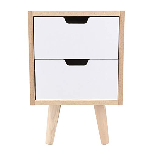 Quieting 2 Drawer Bedside Side Table Wooden Cabinet Chic Nightstand Storage Unit White