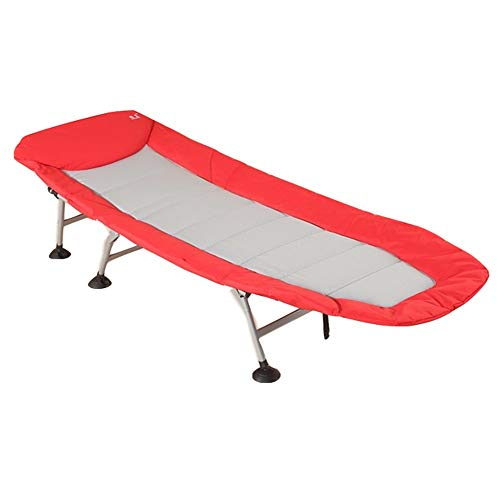 FUFU Patio Lounge Chairs Lounge Chair, Folding Bed Portable Fishing Bed Office Nap Bed Single Bed Outdoor Beach Bed Marching Bed 205x75x27cm Durable (Color : Red)