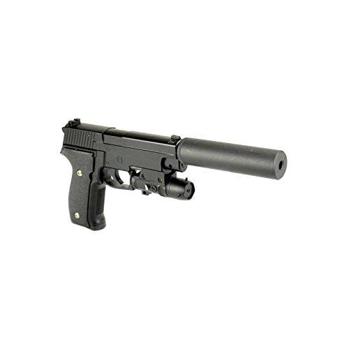 Galaxy pistola para airsoft, 226, con silenciador, funda, culata con resorte completamente metálico, de recarga manual (0,4 julios)