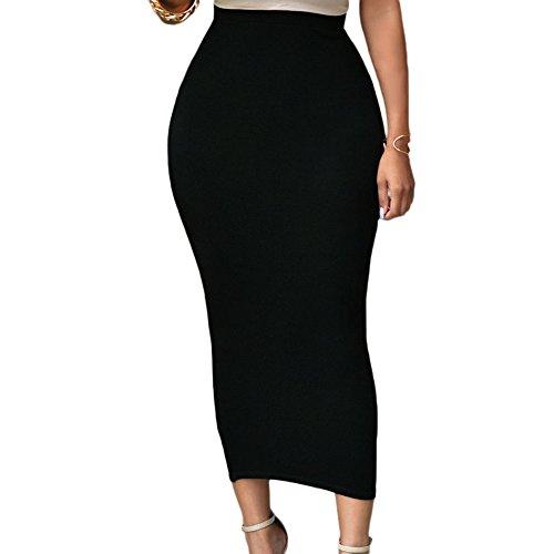 Eiffel Women's Sexy High Waist Bodycon Party Club Maxi Long Pencil Skirt Black