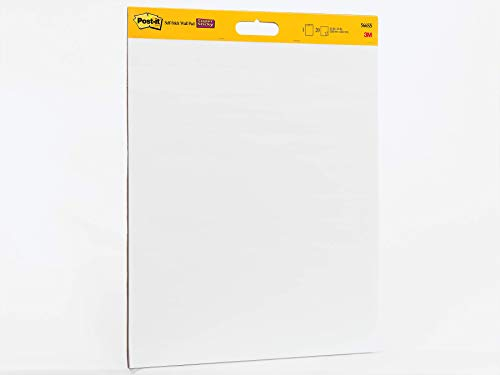 Post-it Super Sticky Wall Easel Pad, 20 x 23 Inches, 20 Sheets/Pad, 1 Pad (566SS), Portable White Premium Self Stick Flip Chart Paper, Rolls for Portability, Hangs with Command Strips