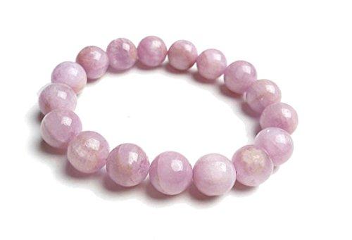 JP_Beads Pulsera de cuentas de 8 mm, color rosa Kunzite, pulsera de cuentas Kunzite para mujer, pulsera de joyería rosa Kunzite, pulsera de piedras preciosas de color lila y pulsera elástica rosa para regalo
