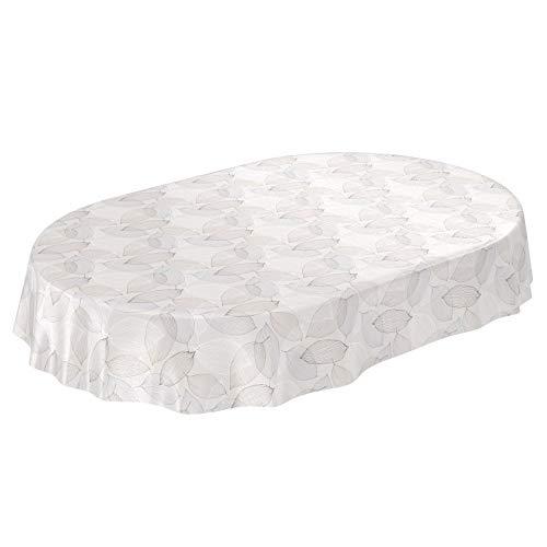 ANRO Wachstuchtischdecke Wachstuch Wachstischdecke Tischdecke abwaschbar Abstrakt Stimmung Laub Grau Oval 140 x 180cm
