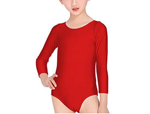 Carnavalife Maillot Ballet Danza Niña de Manga Larga y Cuello Redondo (Rojo, 10-12 años)