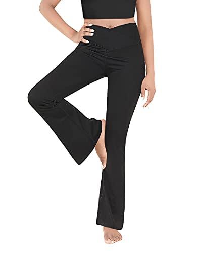 Esobo Women's Bootleg Yoga Pants Crossover High Waisted Wide Leg Workout Flare Pants Bootcut Work Pants Dress Pants Black