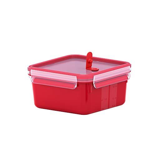 Emsa N10604 Clip & Micro Mikrowellendose mit Ventil | 1,3 Liter | BPA-Frei | Made in Germany | 100% dicht | spülmaschinenfest | Mikrowellen- und Gefriergeeignet | Rot
