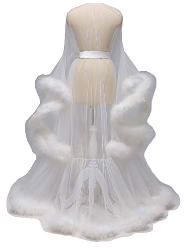 Kumeng Wedding Sexy Feather Robe Bridal Upgraded Illusion Tulle Long Scarf New Custom Made Ivory