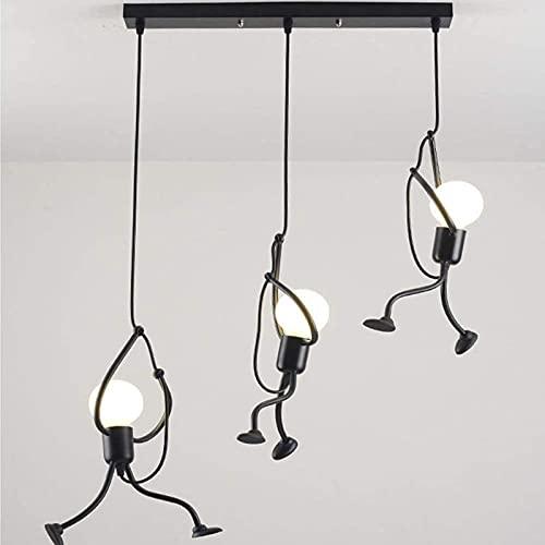 JeeKoudy Luces Colgantes 3 Llamas Moderno Encantador Creativo Personas de Hierro Diseño de Dibujos Animados Lámpara Colgante Lámpara Colgante Elegante para niños Dormitorio de niños Sala de Estar
