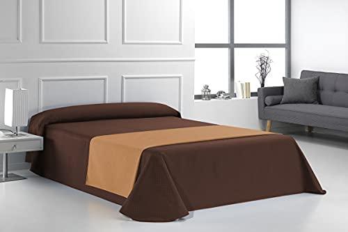 SABANALIA - Colcha de Loneta Marta (Disponible en Varios tamaños), Cama 105-200 x 280, Chocolate