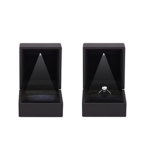 2 Pieces Ring Earring Gift Box with LED light, Elegant Velvet Ring Case Jewelry Display for...