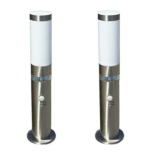 2x LED-Edelstahl-Außen-Sockel-Wege-Leuchte-Lampe LISA H: 50 cm, D: 7,6 cm, Kunststoffglas, Bewegungsmelder, Hauptlicht E27, max. 40W, Grundlichtring 12 LEDs fest eingebaut, Dämmerungssensor, IP44