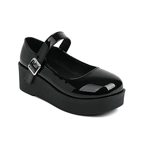 Zapatos Mary Jane Plataforma de cuña para Mujeres De Cuero Punta Redonda con Correa en el Tobillo de Hebilla Princesa Lolita Zapatos,Black 2,42 EU