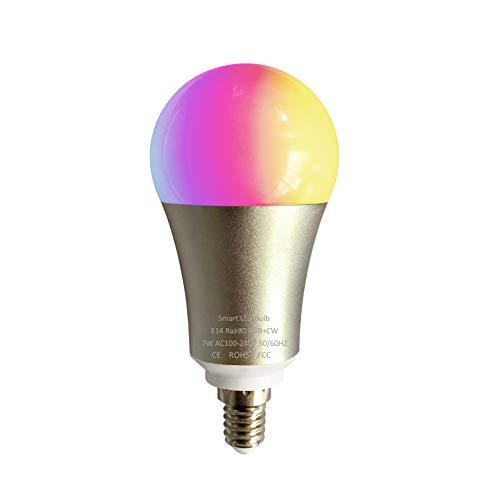 Bombilla conectada LED WIFI G-MOTIONS, marca francesa de tipo baúlta B22 o con rosca E14 y E27, compatible con Alexa Echo GOOGLE HOME con miles de colores manual francés (E14, 4 bombillas).
