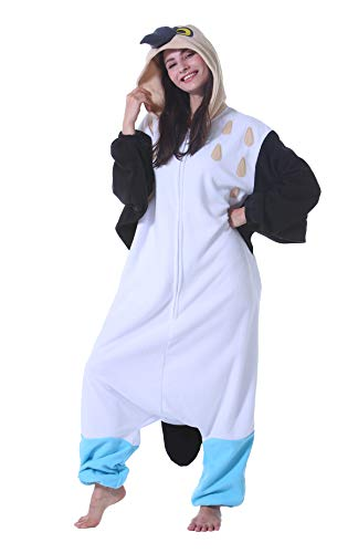 Pijama Animal Entero Unisex para Adultos con Capucha Cosplay Pyjamas Ropa de Dormir Traje de Disfraz para Festival de Carnaval Halloween Navidad Piquero de Patas Azules M(156-167CM)