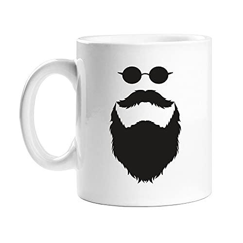 N\A Taza de café con Gafas de Sol y Barba