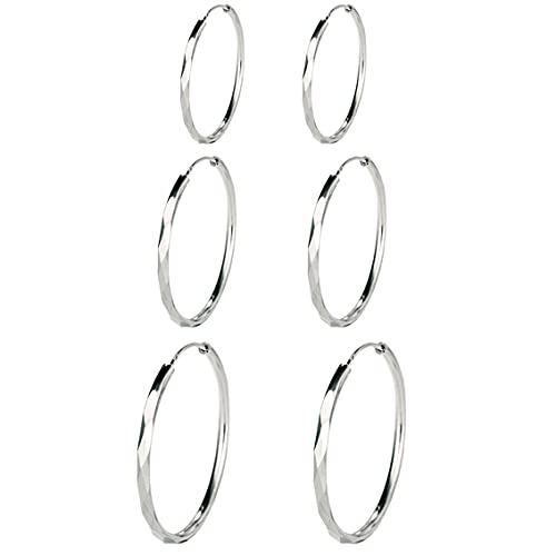 GANMFOYC 3 pares Pendientes Mujer Aro de Plata de Ley 925 Grandes Aros Plata Diamante Circulo Redondo, Diámetro: 40 50 60 MM
