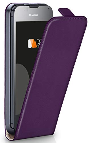 MoEx® Flip Case mit Magnetverschluss [R&um-Schutz] passend für Huawei Ascend Y300 | 360° Handycover aus feinem Premium Kunst-Leder, Lila