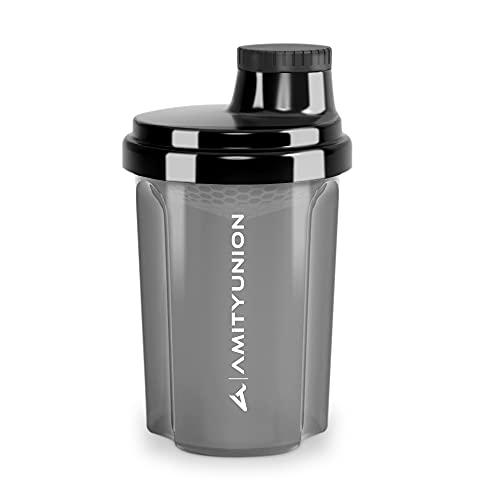 """Protein Shaker 300 ml """"Heaven"""" auslaufsicher, BPA frei mit einklickbarem Sieb & Skala für Cremige Whey Shakes, Gym Fitness Becher für Isolate & Sport Konzentrate, Eiweiß Shaker Schwarz Smoke"""