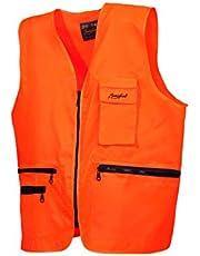BENISPORT Chaleco Naranja fluoresente Basic Line - Chaleco de Alta Visibilidad para Caza - Bolsillo portablas
