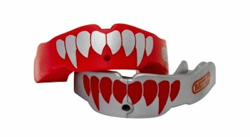 Battle Fangs Football Mouthguard – Sports Mouth Guard with Removable Strap – Protector Mouthpiece Fits With or Without Braces on Teeth – Adult & Youth Mouth Guard Sizes, 2 Pack, Youth (Age 9 & Below), Red/Silver