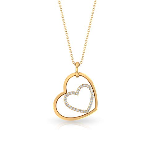 Round Diamond SGL Certified Charm Drop Pendant, Minimal Double Heart Pendant Necklaces, Antique Mother Day IJ-SI Diamond Pendants, Girl Birthday Gifts, 18K Yellow Gold Without Chain