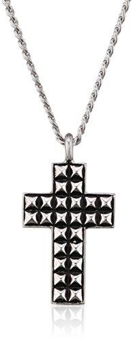 caï Herren-Halskette mit Kreuz Anhänger 925 Silber rhodiniert und schwarz lackiert ca. 55 cm