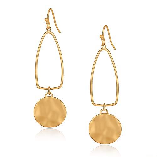 LEVIOLET Gold Drop Earrings Long Dangly Hypoallergenic Geometric Dangle Earring for Women