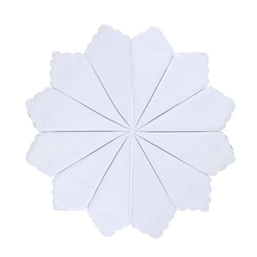 HOULIFE Damen Klein Weiß Taschentücher aus Reiner Baumwolle Stofftaschentücher für Alltagsgebrauch&Hochzeit 6/12 Stücke 28x28cm Weihnachtsgeschenke
