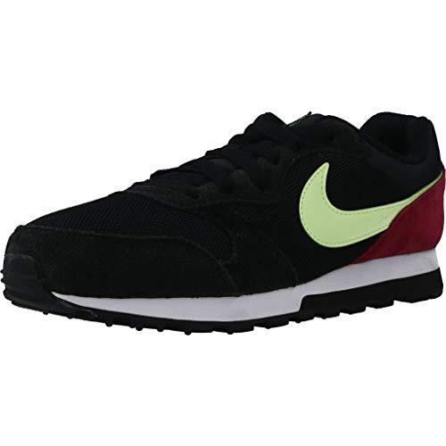Nike MD Runner 2, Zapatillas para Mujer, Negro/Apenas Volt Blanco Noble Rojo, 38 EU