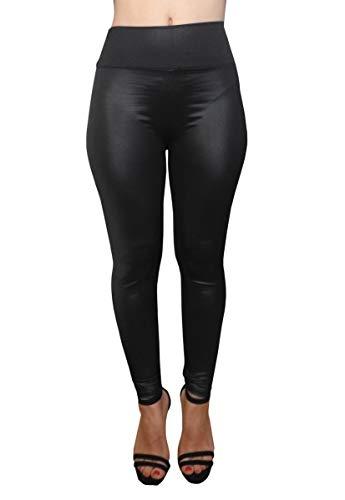 Legging - broek - hoge taille - vrouw - meisje - imitatieleer - stretch - kunstleer - one size - cadeau-idee - gothic - zwart dark
