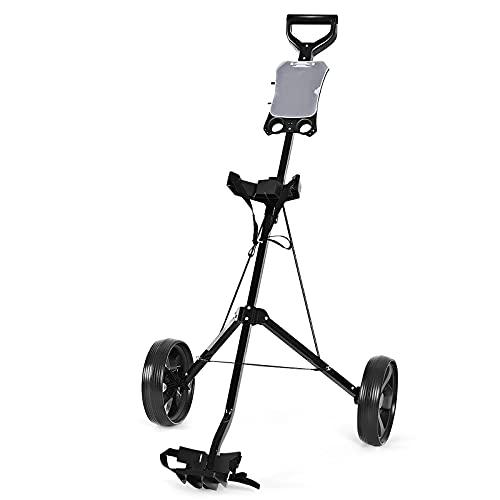 COSTWAY Carrito de Golf con 2 Ruedas Carro de Golf Plegable Estructura de Metal con Marcador Carro de Empuje Negro