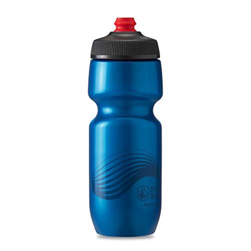 Polar Bottle Breakaway Wave Lightweight Bike Water Bottle - BPA-Free, Cycling & Sports Squeeze Bottle (Deep Blue & Charcoal, 24 oz)