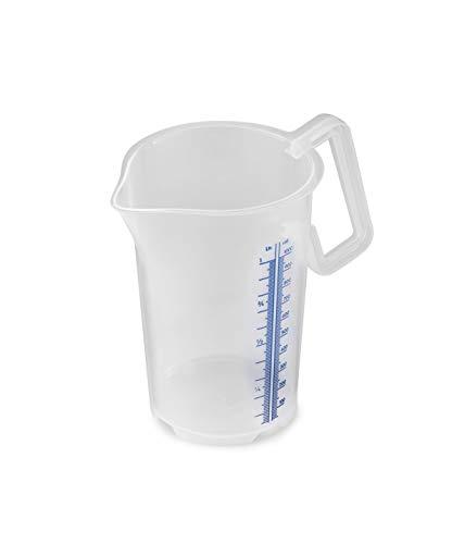 thermohauser Messbecher m. geschlossenem Griff, 1000 ml, Kunststoff PP, blaue Skala in Litern und Millilitern