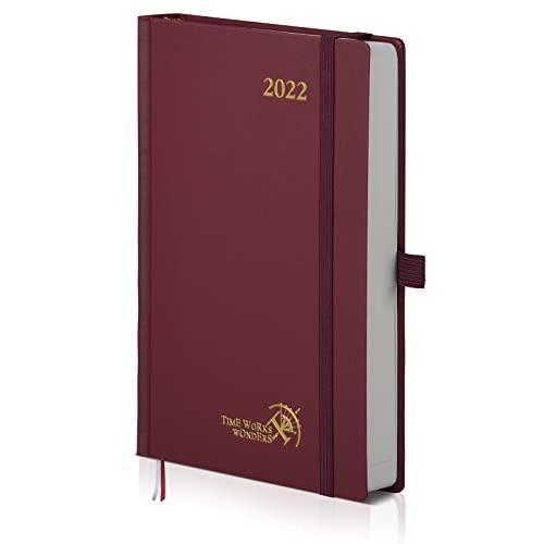 POPRUN Agenda 2022 Giornaliera A5 - 1 Giorno 1 Pagina con Intervallo Orario, Pagine di Note e Contatto, Tasca Interna, Copertina Rigida - Borgogna