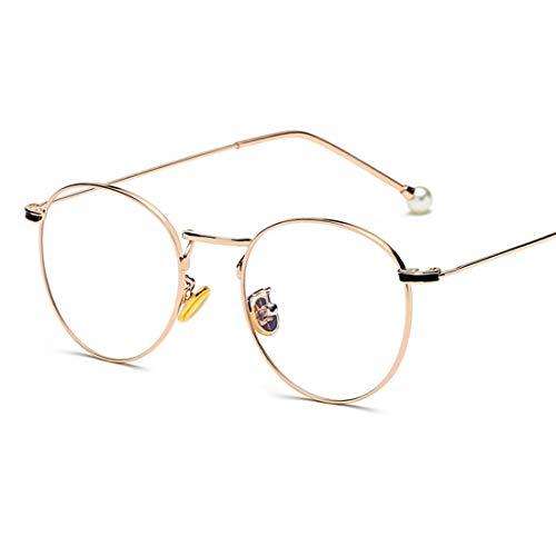 Olprkgdg Anti-Blue Light Glass Pearl Spiegelbeine für Männer und Frauen Brillengestell Anti Blue Light Brille (Color : Gold)
