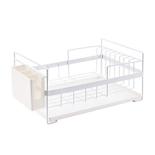 DENGDAI Meuble de vidange de Vaisselle de ménage avec bac à égouttoir en Plastique et Vaisselle Panier de Rangement Cuisine,White