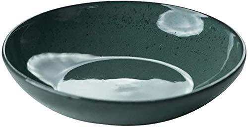 Cuenco de Ceramica Tazón De Cerámica Ensaladera De Mezcla De Boca Ancha De Gran Capacidad Tazón Tazón Esencial Vajilla Regalo Tazón Tazón De Mariscos a Un Amigo (Color : Green, Size : 21 * 4.5CM)