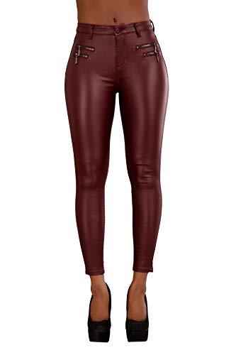 Damen Jeans Hose High Waist Jeans für Damen Übergrößen Jeans Röhrenjeans Lederlook (44, Burgund mit Reißverschlüssen)