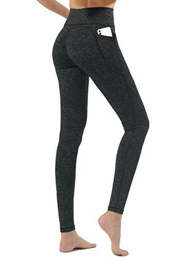 Haining High Waist Yoga Pants, 2 Pocket Yoga Pants Tummy Control Workout Running 4 Way Stretch Yoga Leggings with Pockets,BlackGreyL