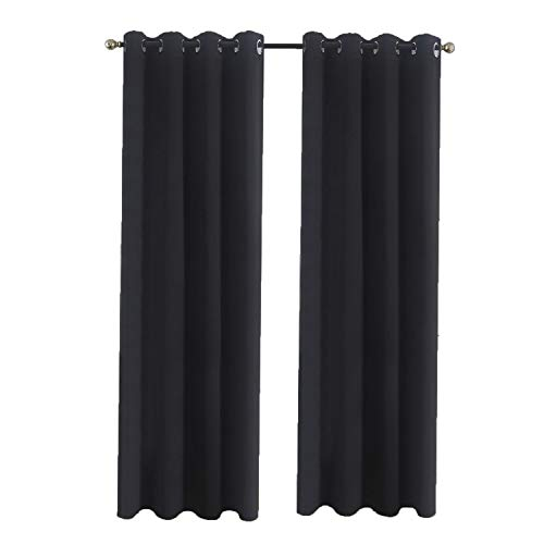 Aquazolax All Season Blackout Curtain Panels Solid Blackout Curtains 52x63-inch Thermal Insulated Premium Quality Drapery for Nursery, 2 Panels, Black