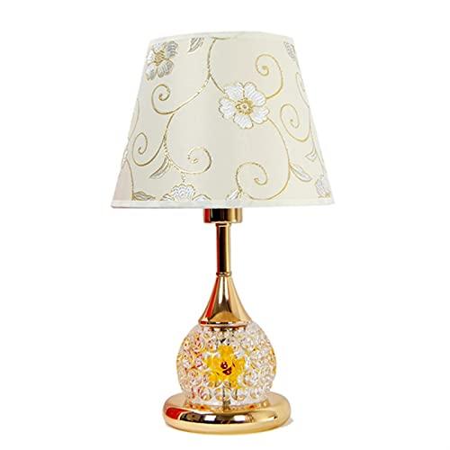 DWAC Lampara Mesilla de Noche Lámpara de Mesa, Interruptor de Doble Botón de Protección de Ojos Lámpara de Escritorio Simple y Moderno LED de Cabecera E27 Lámpara Lámpara De Mesa (Color : Gold)
