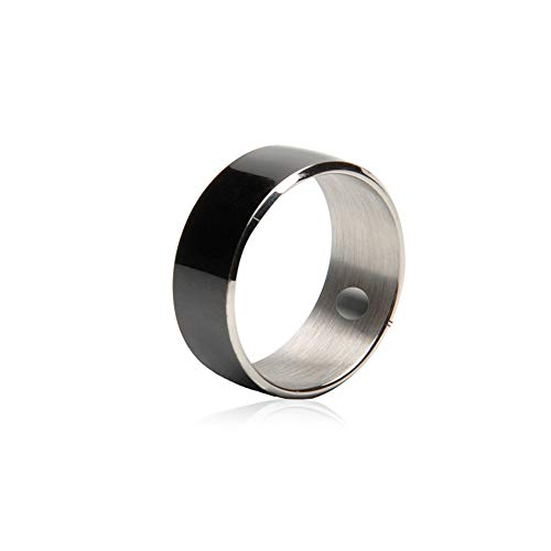Nuevo anillo inteligente de tungsteno líquido con función NFC impermeable y a prueba de polvo, no necesita recargar (negro, blanco) (10, negro)